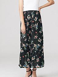 Feminino Simples Cintura Alta Micro-Elástica Perna larga Calças,Perna larga