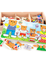 Figurines d'Action & Animaux en Peluche Puzzles en bois Animal Bois Naturel