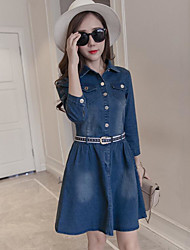 Women's Casual/Daily A Line Dress,Solid Shirt Collar Above Knee Long Sleeve Rayon Spring Summer Mid Rise Inelastic Thin