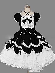 One-Piece/Dress Gothic Lolita Lolita Cosplay Lolita Dress Vintage Cap Short Sleeve Short / Mini Dress For