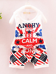 Boy's Fashion And LovelyHaroun Pants Cartoon Grid With Short Sleeves T-Shirt Two-Piece