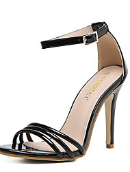 Women's Sandals PU Summer Buckle Stiletto Heel Black Light Pink 4in-4 3/4in