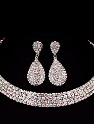 Jewelry Set Rhinestone Basic Classic DIY Alloy Square 1 Necklace 1 Pair of Earrings ForWedding Party Special Occasion Anniversary