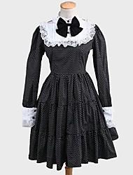 Uma-Peça/Vestidos Lolita Clássica e Tradicional Rococo Cosplay Vestidos Lolita Poás Manga Longa Longuete Vestido Para Tecido Alcochoado