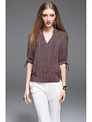 Для женщин Повседневные Рубашка V-образный вырез,Простое Полоски Рукав ½,Шёлк