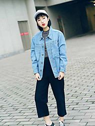 Women's Casual/Daily Work Street chic Spring Denim Jacket,Solid Shirt Collar Long Sleeve Long Cotton