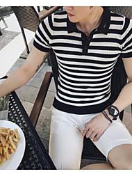 Tee-shirt Homme,Rayé Bureau/Carrière Chinoiserie Manches Courtes Col de Chemise Coton