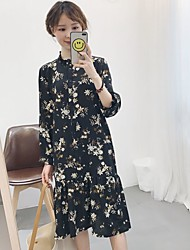 Women's Casual/Daily Shift Dress,Floral Print Stand Midi Long Sleeve Polyester Summer High Rise Micro-elastic Thin