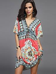 Women's Casual Sexy Summer Loose Bohemian Print Short Sleeve Long Beach Dress