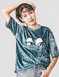 Damen Druck Einfach T-shirt,Rundhalsausschnitt ½ Länge Ärmel Kunstseide