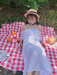 Ample Robe Femme Décontracté / Quotidien simple,Couleur Pleine Bateau Midi Manches Courtes Polyester Eté Taille Haute Non Elastique Fin