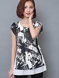 Damen Druck Einfach Sonstiges Normal T-shirt,Rundhalsausschnitt Kurzarm Seide