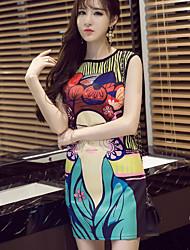 Feminino Tubinho Vestido,Casual Simples Estampado Decote Redondo Acima do Joelho Sem Manga Algodão Verão Cintura Média Micro-Elástica