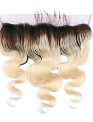 Бразильские человеческие волосы 1b / 613 блондинка 13 * 4 кружева фронтальная крышка тела волна швейцарские кружева детские волосы