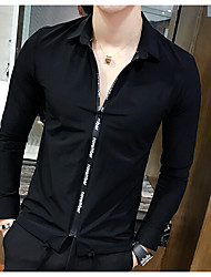Men's Street chic Sophisticated T-shirt,Solid Button Down Collar Long Sleeves Silk