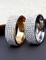 Women's  Band Rings Fashion Elegant Cubic Zirconia Titanium Steel Ring Jewelry For Wedding Anniversary