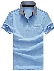 Herren Muster Einfach Normal Polo,Ständer Sommer Kurzarm Baumwolle Mittel