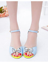 Damen Sandalen PU Frühling Weiß Blau Flach