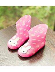 Girls' Flats Comfort Rubber Spring Fall Outdoor Casual Walking Magic Tape Low Heel Light Green Blushing Pink Yellow Flat