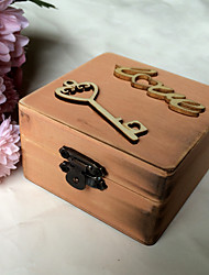 Wooden LOVE  key square ring box - cinnamon
