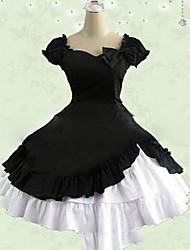 Une Pièce/Robes Doux Lolita Cosplay Vêtrements Lolita Rose Noir Rouge Rétro Mancheron Manches Courtes Court / Mini Robe Pour