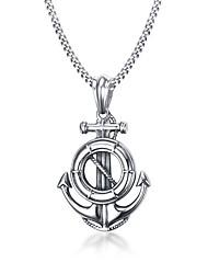 Муж. Ожерелья с подвесками Заявление ожерелья Круглый Круглой формы Геометрической формы анкер Бижутерия Нержавеющая сталь Титановая сталь