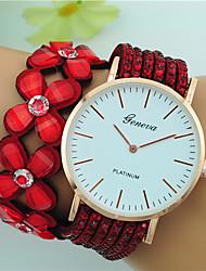 Per donna Orologio braccialetto Quarzo Quadrante grande Pelle Banda Floreale Stile Boho Nero Bianco Blu Rosso Marrone