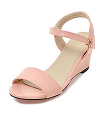 Women's Sandals Basic Pump PU Summer Casual Dress Basic Pump Buckle Wedge Heel Blushing Pink Beige Black White 2in-2 3/4in