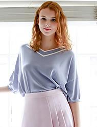 Damen Solide Gestreift Einfach Normal T-shirt,V-Ausschnitt Halbe Ärmel Viskose