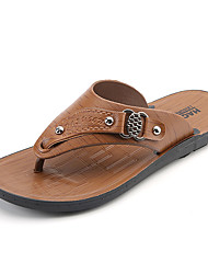 Men's Sandals Comfort PU Spring Summer Casual Beading Flat Heel Brown Yellow Flat