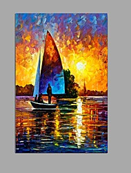 Hand-Painted Abstract Knife Morning sun Seascape Oil Painting Home Decoration Stretched Frame Ready To Hang