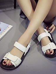 Damen Sandalen Komfort Leuchtende Sohlen PU Frühling Sommer Normal Komfort Leuchtende Sohlen Weiß Schwarz Flach