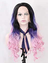 Ombre Three Tones Synthetic Lace Front Body Weave Wig Black Ombre Blue Pink Wig Heat Resistant Glueless Natural Wavy Women's Hair Synthetic Wigs