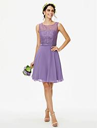 2017 LAN TING BRIDE Knee-length Jewel Bridesmaid Dress - See Through Sleeveless Chiffon Lace