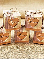 50pcs Rustic Sweetheart Love Kraft Favor Box Gift Box Party Candy Box 5x5x5cm/pcs Beter Gifts® Wedding Decoration