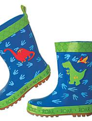 Girls' Flats First Walkers PVC Spring Fall Outdoor Casual Walking Rain Boots Magic Tape Low Heel Dark Blue Red Blushing Pink Flat