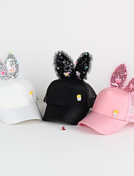 Girls Cap Butterfly Sequins Rabbit Ear Mesh Hat