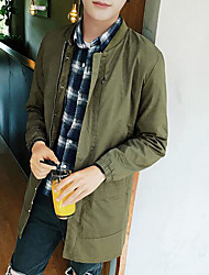 Men's Daily Modern/Comtemporary Spring Jacket,Solid Round Neck Long Sleeve Regular Others