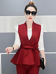 Для женщин Лето Осень Рубашка Брюки Костюмы V-образный вырез Слабоэластичная