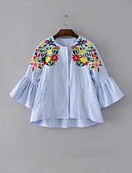 Women's Daily Simple Shirt,Embroidery Round Neck 3/4-Length Sleeve Cotton Blend