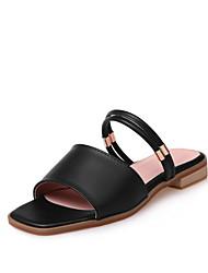 Women's Slippers & Flip-Flops PU Summer Walking Low Heel White Black Blushing Pink Under 1in