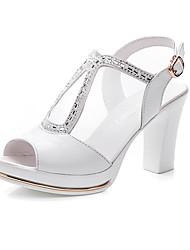 Damen Sandalen Komfort Mikrofaser Sommer Normal Komfort Blockabsatz Weiß Schwarz 5 - 7 cm