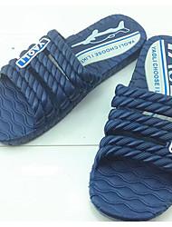 Men's Slippers & Flip-Flops Comfort Rubber Spring Casual Screen Color Blue Gray Flat