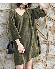 Damen Solide Sexy Lässig/Alltäglich T-shirt,V-Ausschnitt Frühling Sommer ¾-Arm Baumwolle Mittel