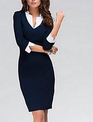 Feminino Evasê Vestido,Casual Trabalho Simples Sólido Colarinho Chinês Acima do Joelho Acrílico Primavera Outono Cintura AltaSem