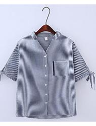 Mujer Simple Verano Camisa,Escote Chino A Rayas Manga Corta Algodón