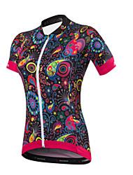 Maillot de Cyclisme Femme Manches Courtes Vélo Maillot Séchage rapide Design Anatomique Résistant aux ultraviolets Perméabilité à