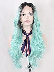 High Quality Long Wavy Black Ombre Mint Green Synthetic Lace Front Wigs for Women Heat Resistant Half Hand Tied Glueless Fiber Hair On Sale