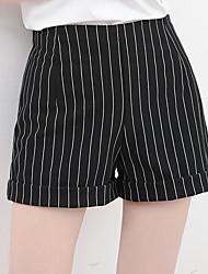 Feminino Simples Cintura Média Micro-Elástica Perna larga Calças,Largo Listrado
