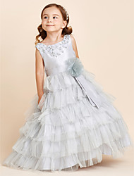 Ball Gown Floor Length Flower Girl Dress - Polyester Jewel with Applique Beading Bow(s) Flower(s) Tiered